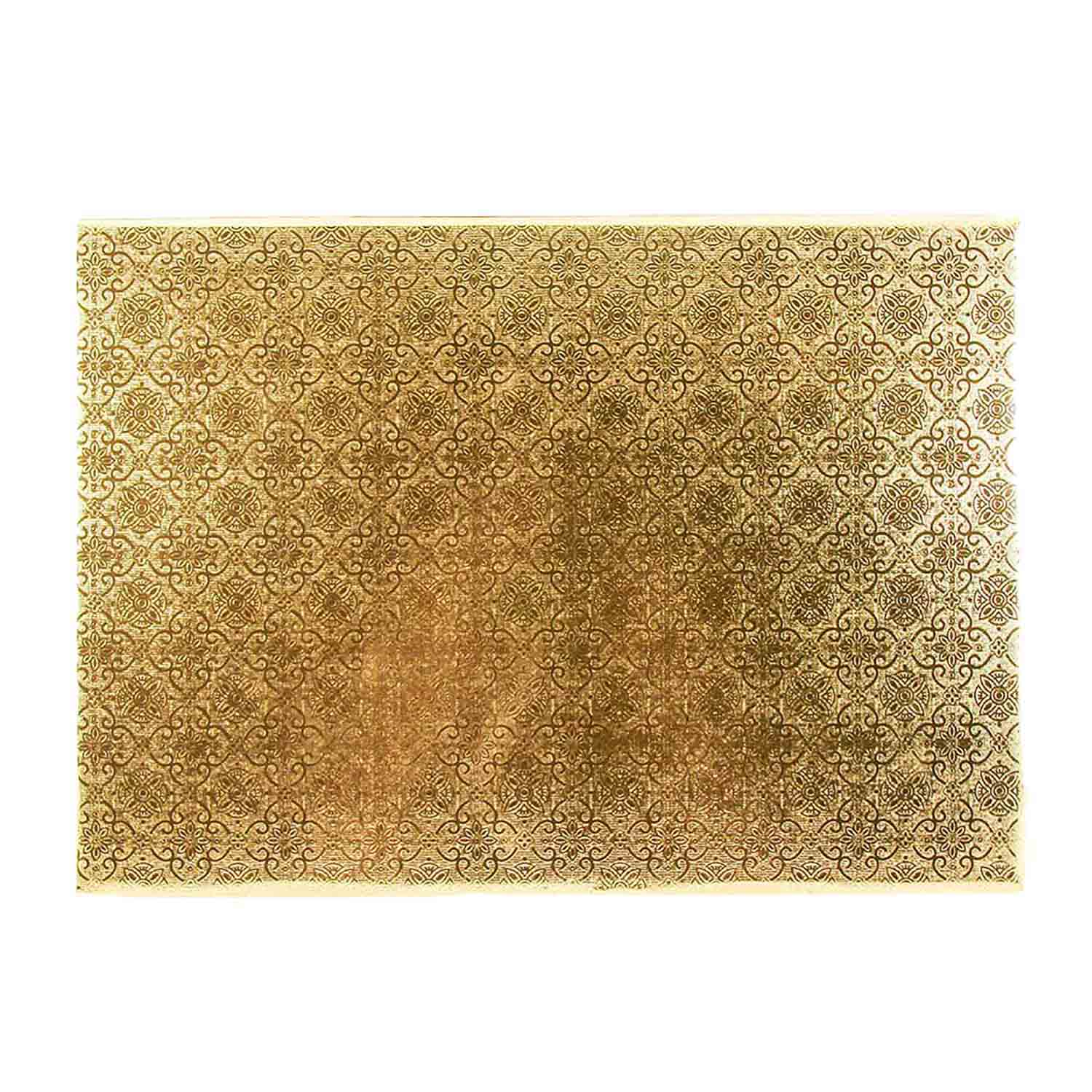 "10"" x 14"" Rectangle Gold Foil Quarter Sheet Cake Drum"