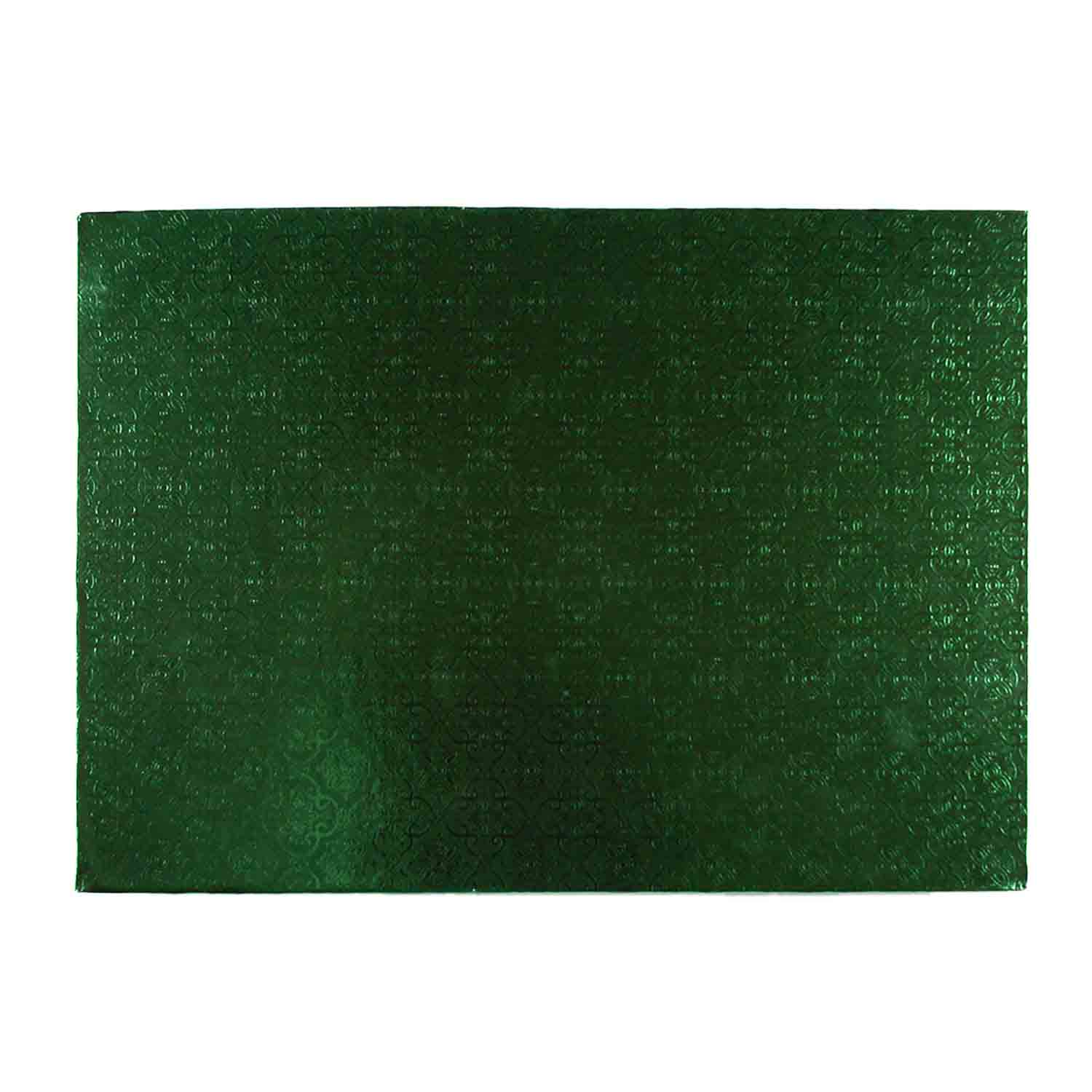 "10"" x 14"" Rectangle Green Foil Quarter Sheet Cake Drum"