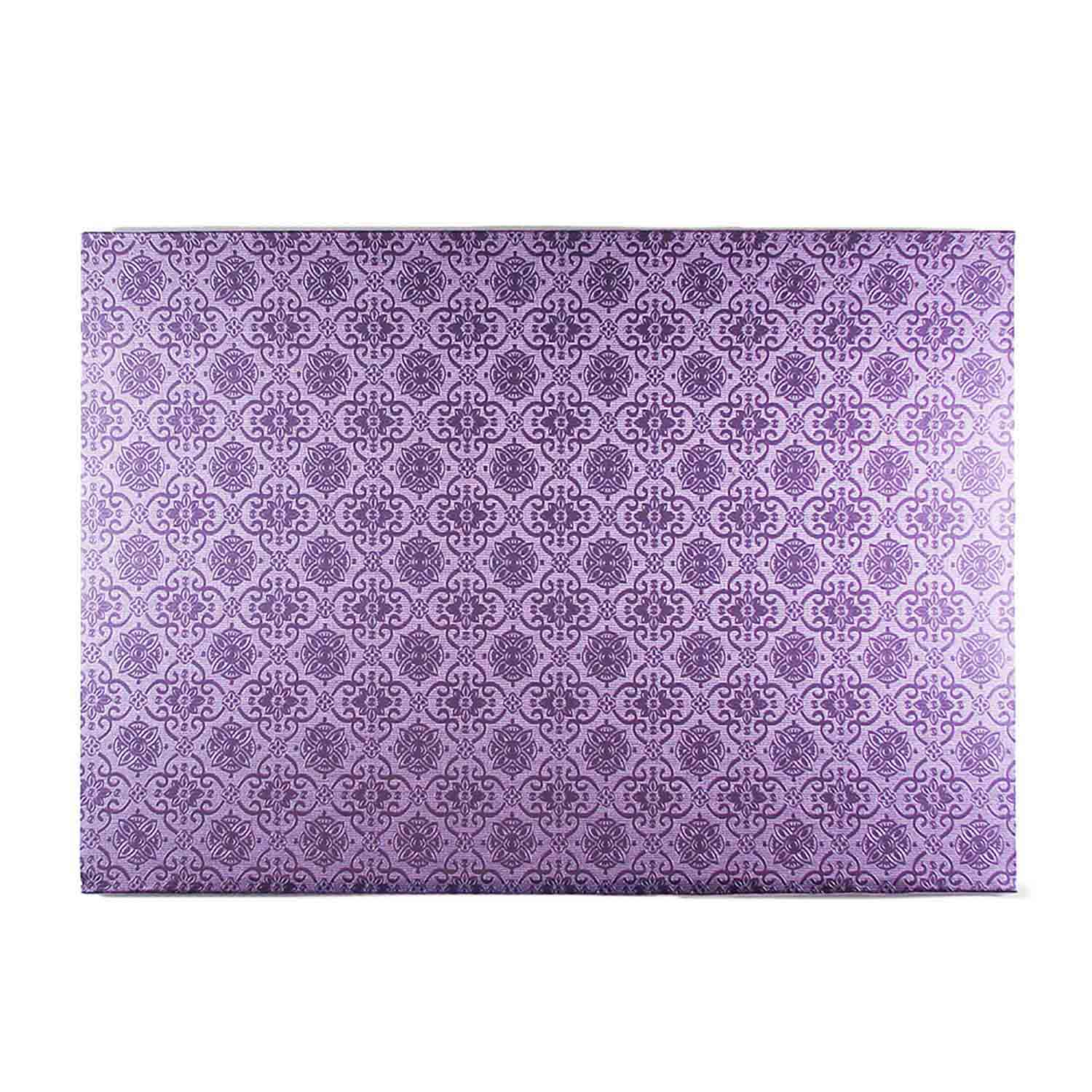 "10"" x 14"" Rectangle Lilac Foil Quarter Sheet Cake Drum"