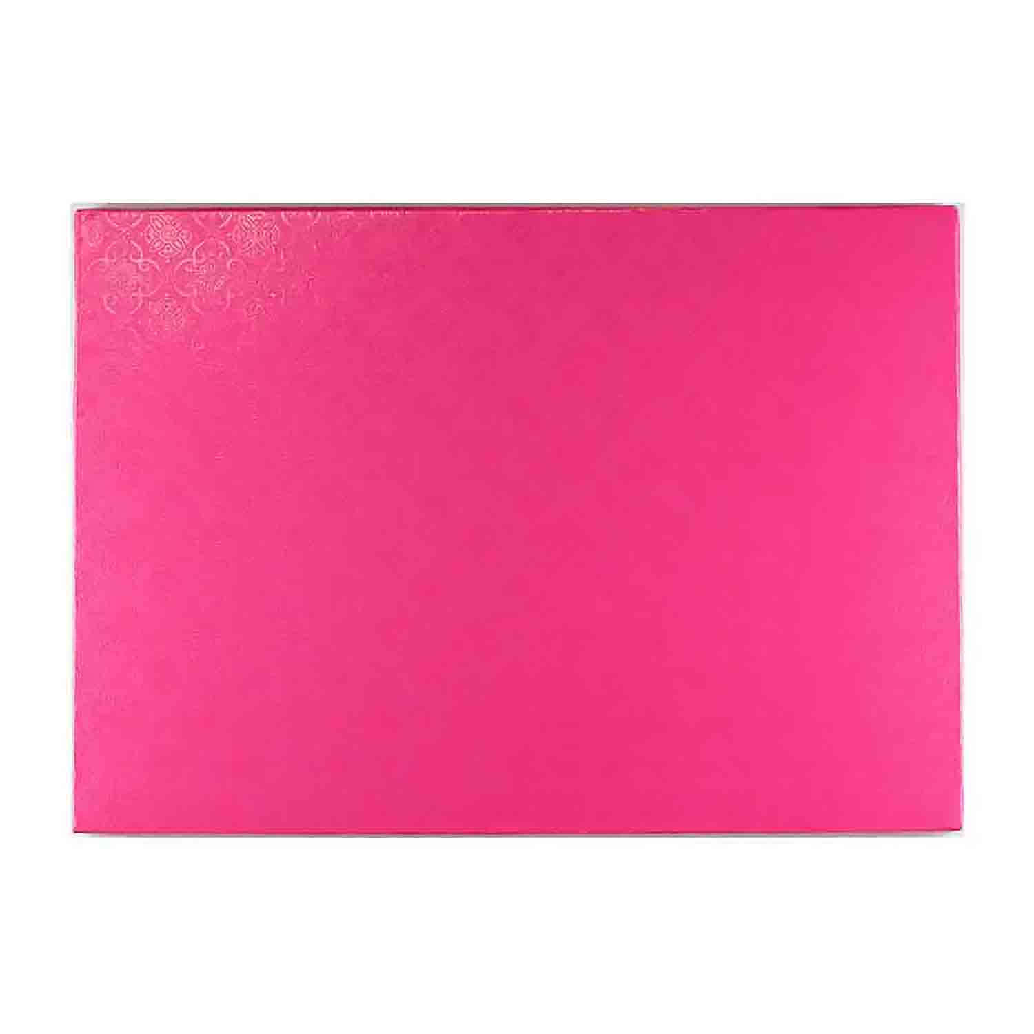 "10"" x 14"" Rectangle Pink Foil Quarter Sheet Cake Drum"