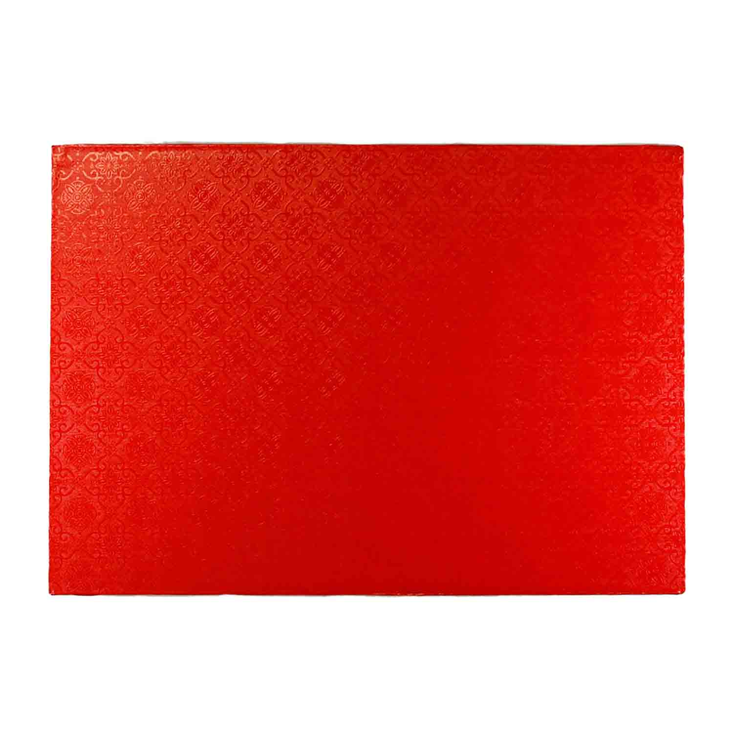"10"" x 14"" Rectangle Red Foil Quarter Sheet Cake Drum"