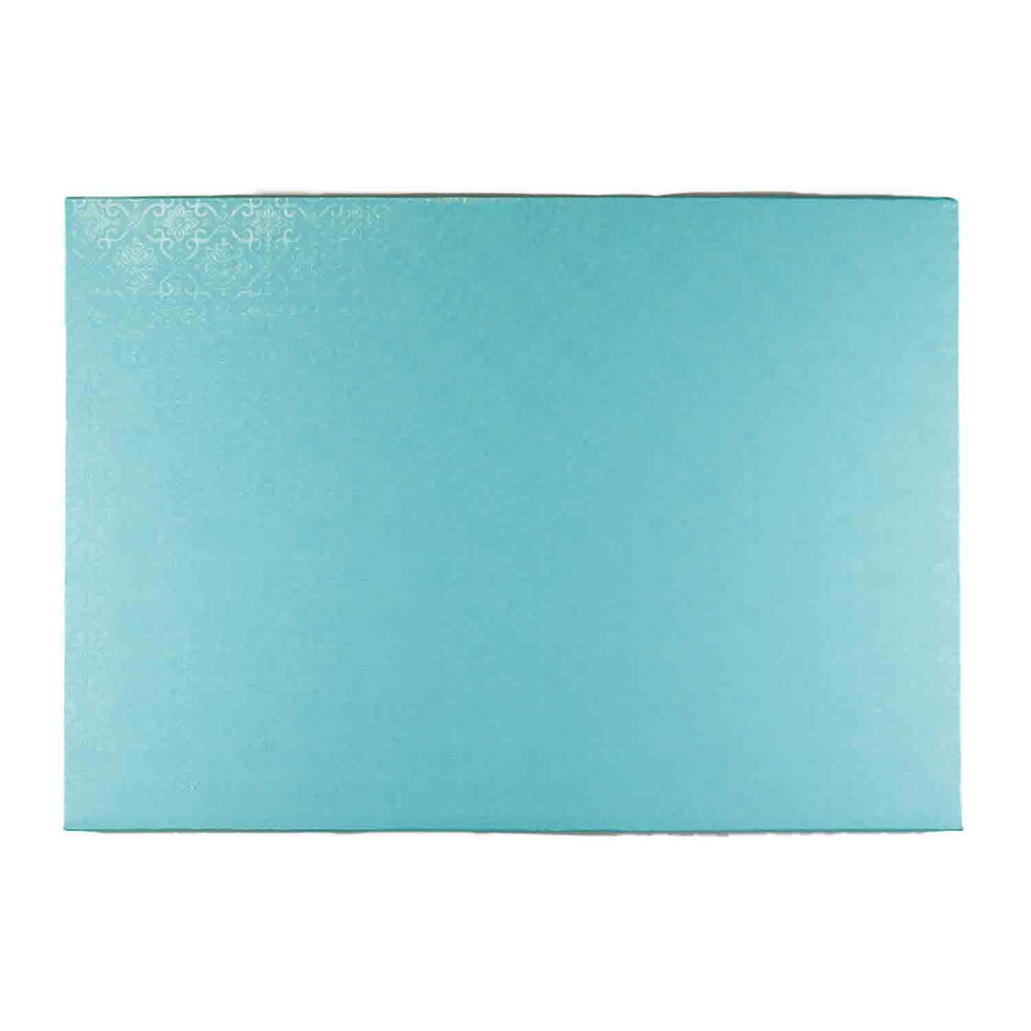 "10"" x 14"" Rectangle Tahiti Blue Foil Quarter Sheet Cake Drum"