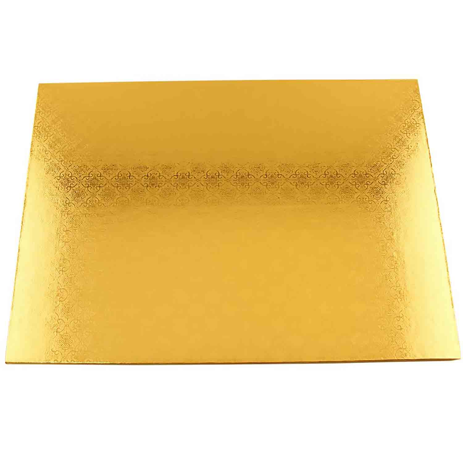 "14"" x 19"" Rectangle Gold Half Sheet Cake Drum - ¼"" Thick"