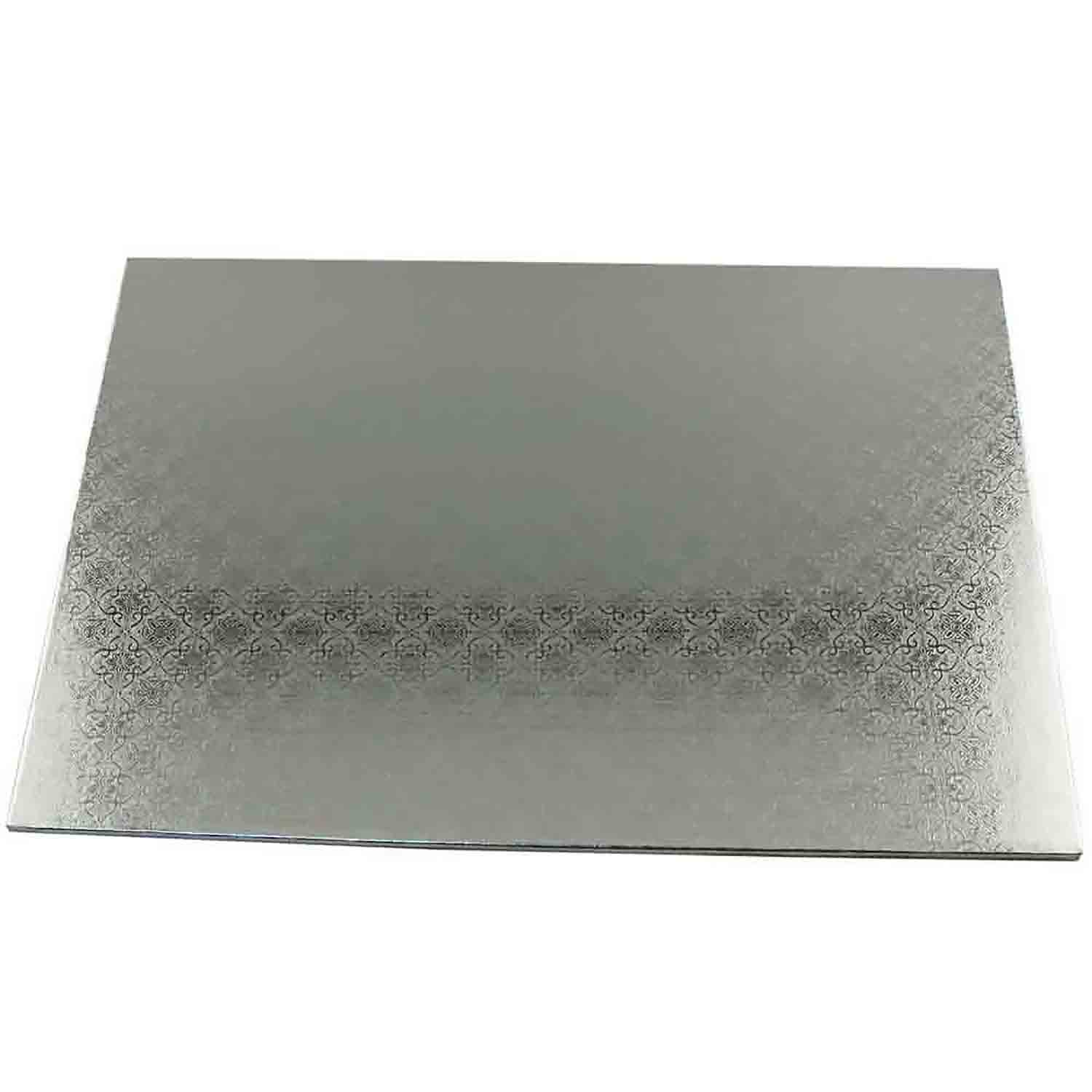 "14"" x 19"" Rectangle Silver Half Sheet Cake Drum - ¼"" Thick"