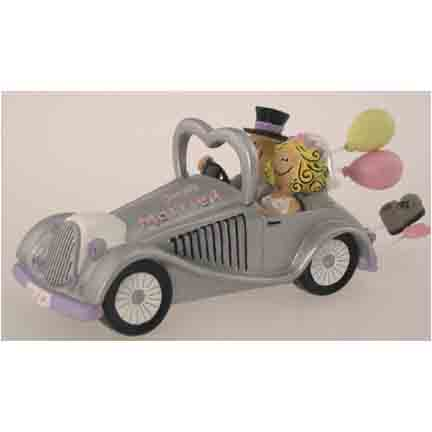 Comical Bride and Groom With Car Cake Topper