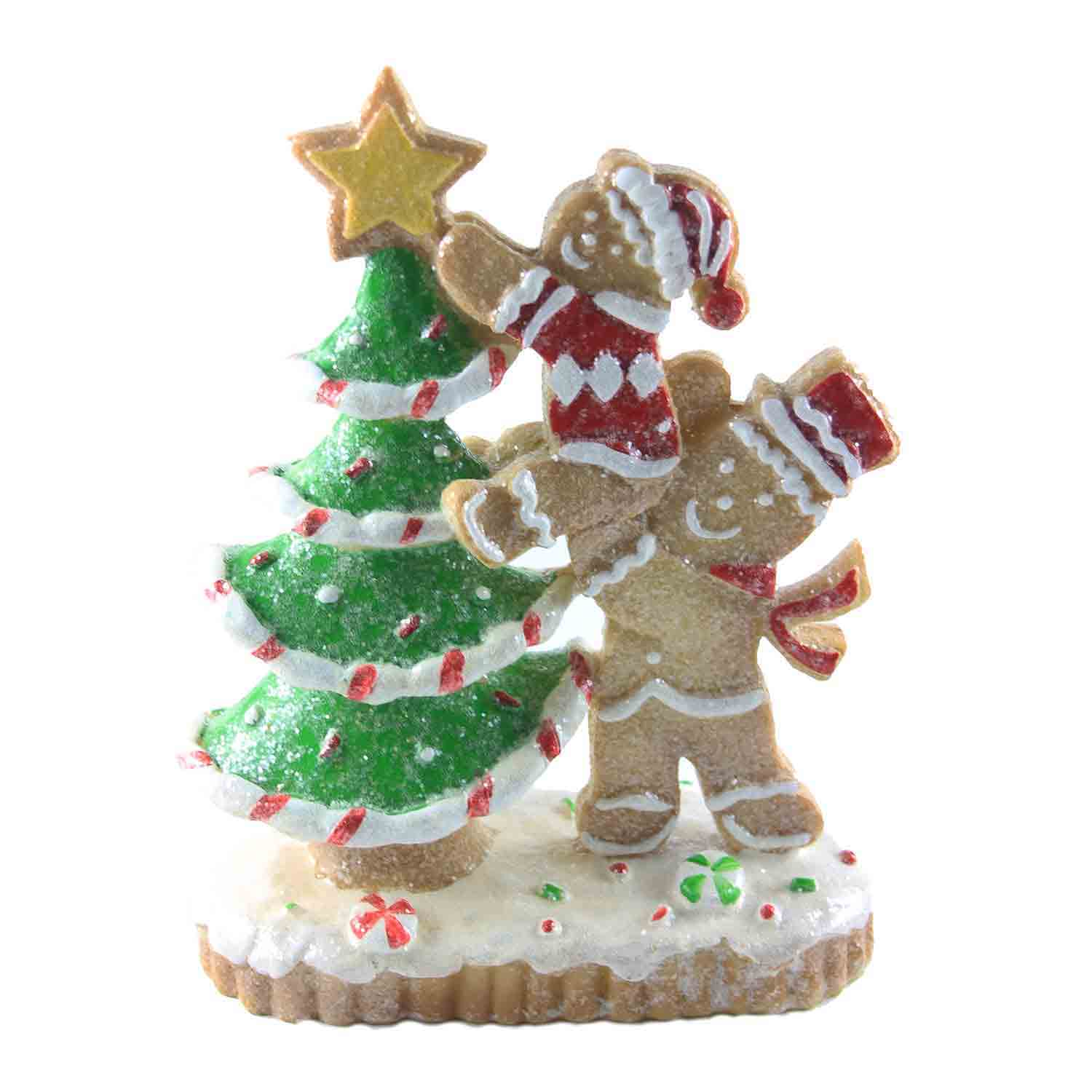 Resin Tree Trimming Gingerbread Family