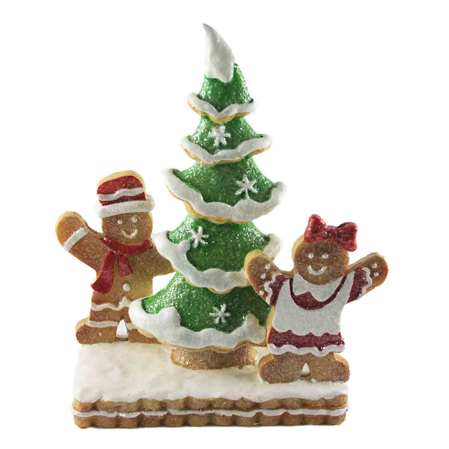 Resin Gingerbread Kids With Tree