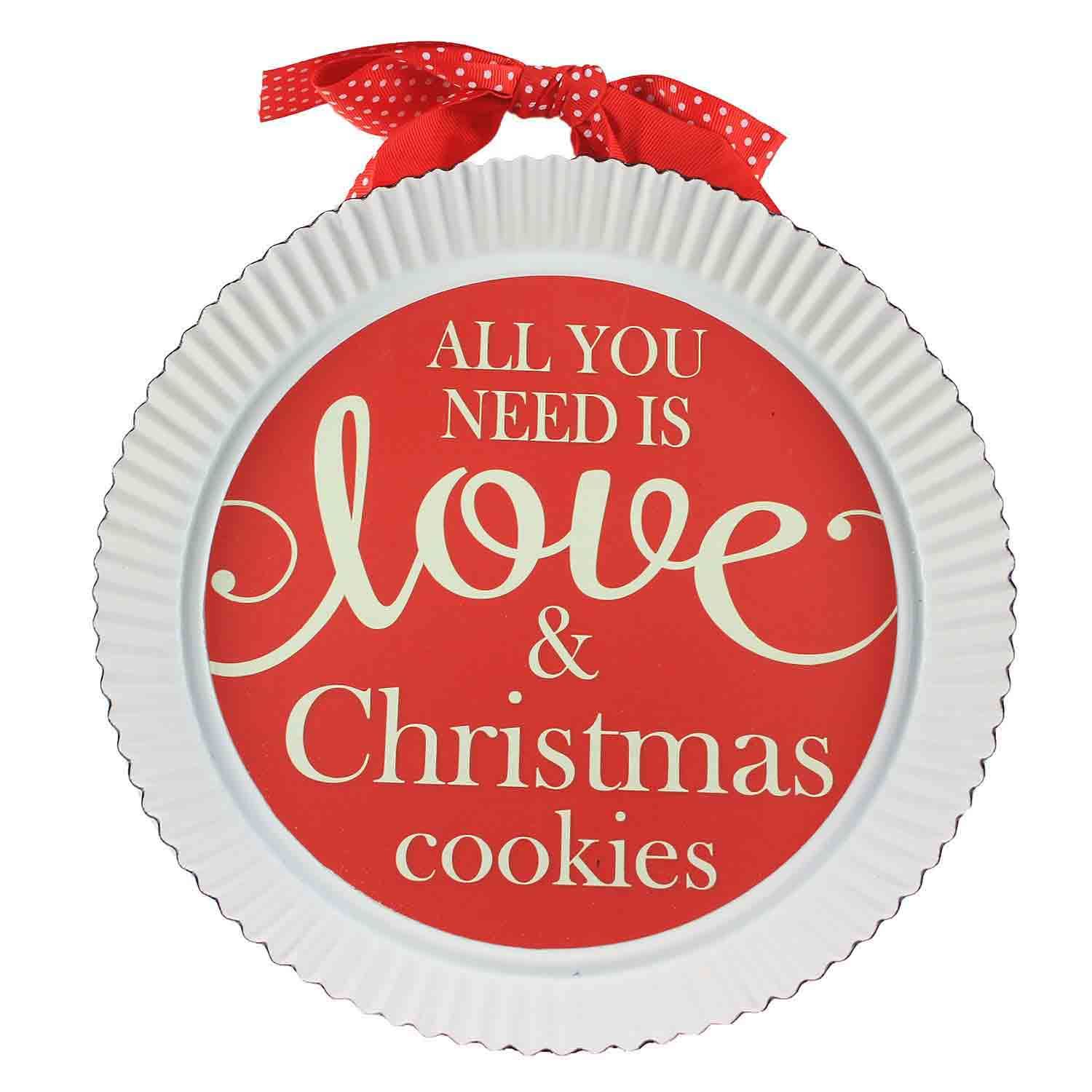 Love And Christmas Cookies Pie Tin Sign