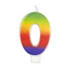 Number 0 Rainbow Candle
