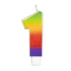Number 1 Rainbow Candle