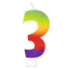 Number 3 Rainbow Candle