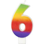 Number 6 Rainbow Candle