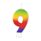 Number 9 Rainbow Candle