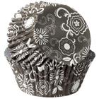Black w/ White Flowers Standard Baking Cups