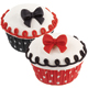 Red, Black, and White Dot Icing Decorations