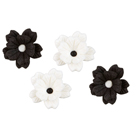 Black and White Flower Royal Icing Decorations