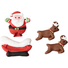 Santa, Sleigh, and Reindeer Icing Decorations