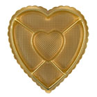 1 lb. Gold Heart Sectioned Candy Box with Clear Lid