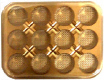 12 Cavity Gold Jewel Candy Box with Clear Lid