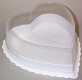 1/2 lb. White Heart Deep Candy Box with Clear Lid