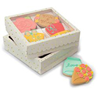 Large Gold Dot White Cookie Box with Window