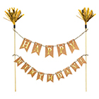 Gold Flag Happy Birthday Banner