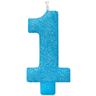 Large Number 1 Blue Glitter Candle