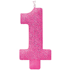 Large Number 1 Pink Glitter Candle
