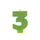 Kiwi Green Glitter Number 3 Candle