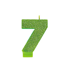 Kiwi Green Glitter Number 7 Candle