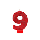 Red Glitter Number 9 Candle