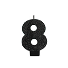 Black Glitter Number 8 Candle