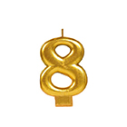 Gold Number 8 Candle