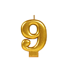 Gold Number 9 Candle