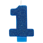 Blue Glitter Number 1 Candle