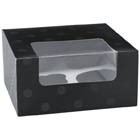 Black Dot 4 Ct. Cupcake Box with Window