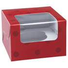 Red Dot 1 Ct. Cupcake Box with Window