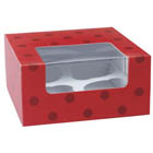 Red Dot 4 Ct. Cupcake Box with Window