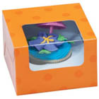 Orange Dot 1 Ct. Cupcake Box with Window