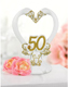 White and Gold 50th Anniversary Cake Topper