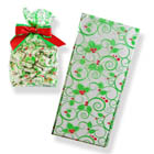"2 1/2"" x 1"" x 6"" Holly Cellophane Bag"
