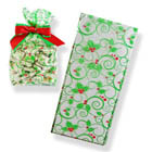 "3"" x 1 3/4"" x 6 3/4"" Holly Cellophane Bag"