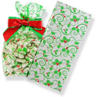 "3 1/2"" x 2 1/4"" x 8 1/4"" Holly Cellophane Bag"