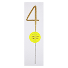 Gold Number 4 Sparkler Candle