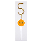 Gold Number 5 Sparkler Candle