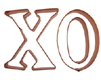 X and O Copper Cookie Cutter Set