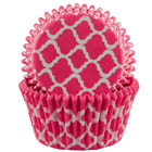 Pink Quatrefoil Standard Baking Cups