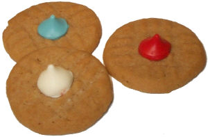 Red, White and Blue Kiss Cookies