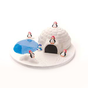 Igloo and Penguin Snow Scene Cake