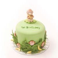 Monkeys and Bananas 1st Birthday Smash Cake